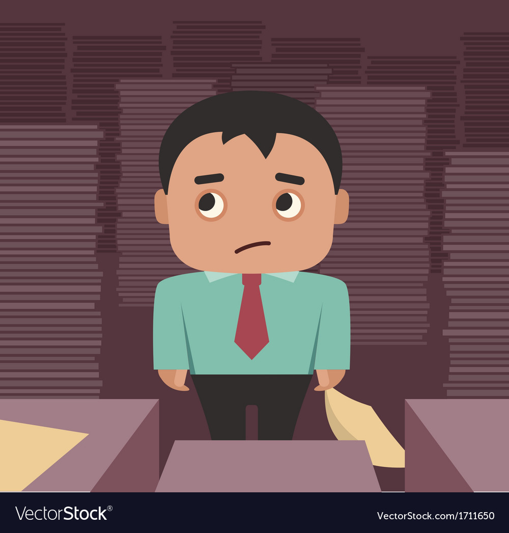Businessman overhelmed by a paperwork vector | Price: 1 Credit (USD $1)