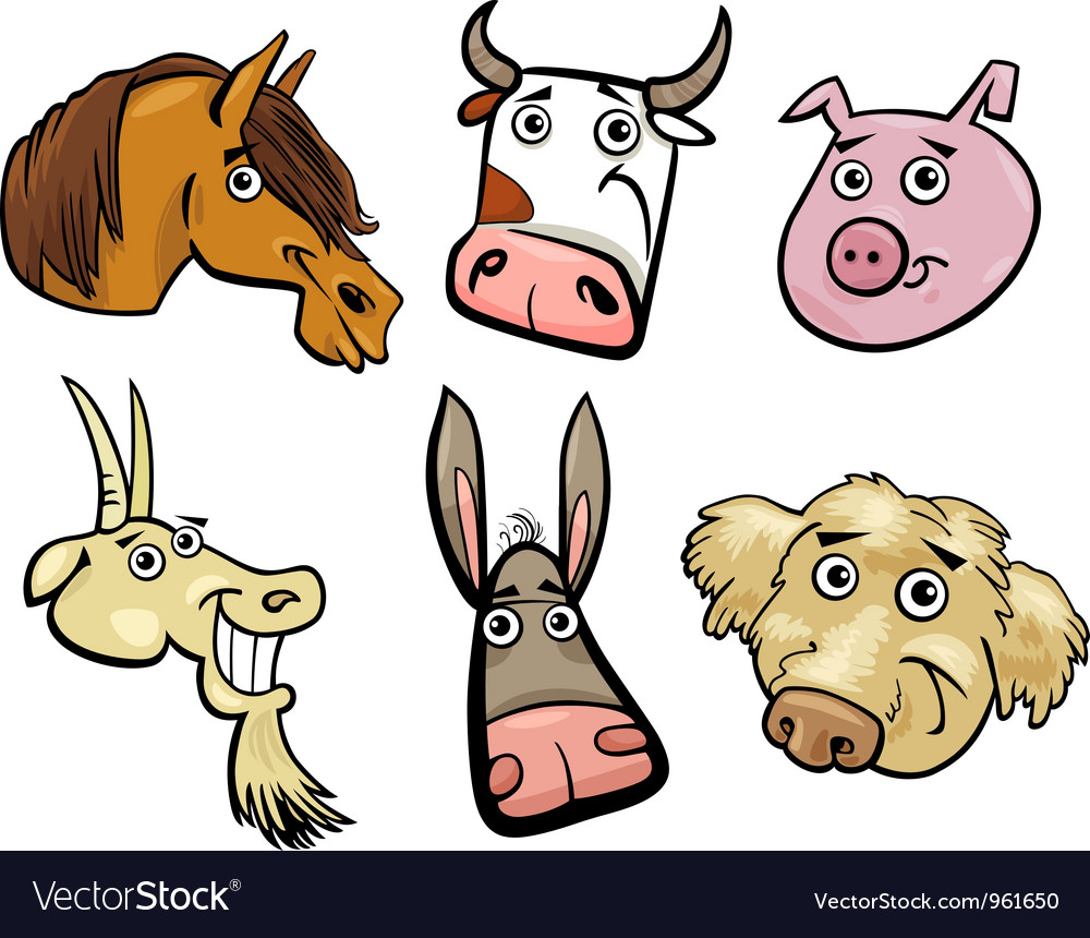 Cartoon farm animals heads set vector | Price: 3 Credit (USD $3)