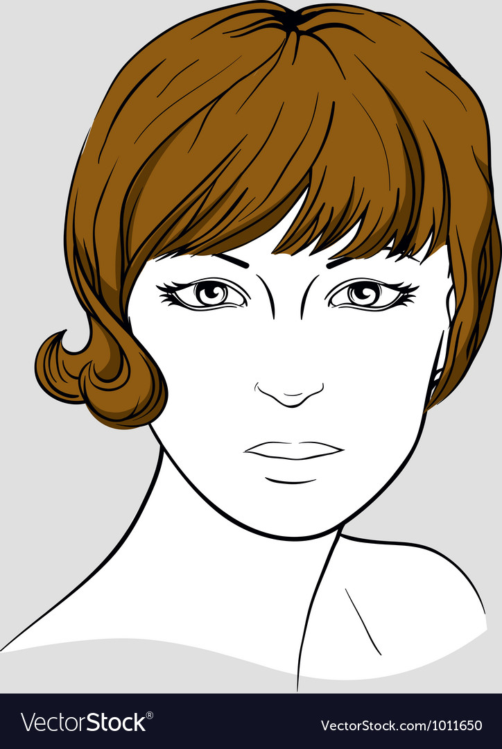 Face of a woman with short brown hair vector | Price: 3 Credit (USD $3)