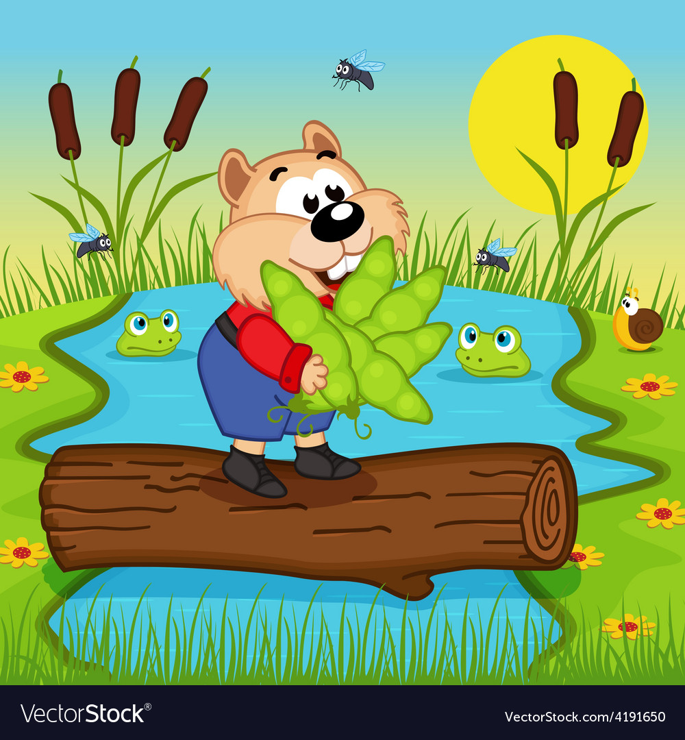 Hamster with peas cross the river vector | Price: 3 Credit (USD $3)