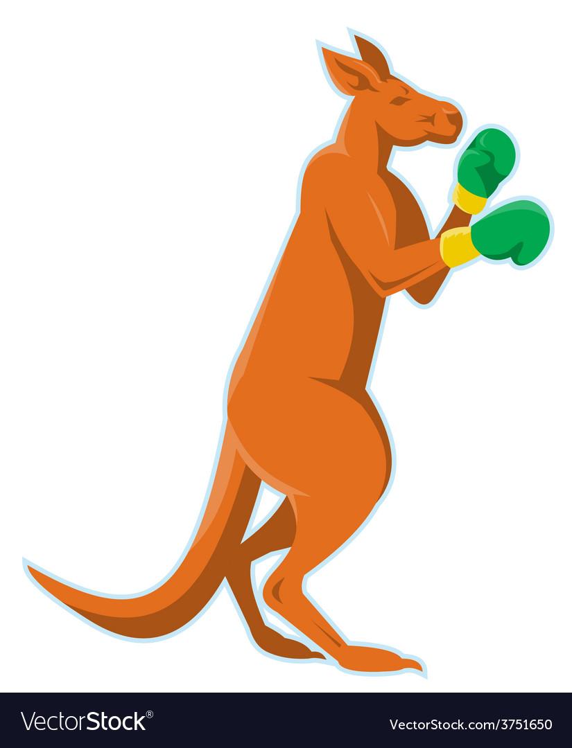 Kangaroo boxer boxing retro vector