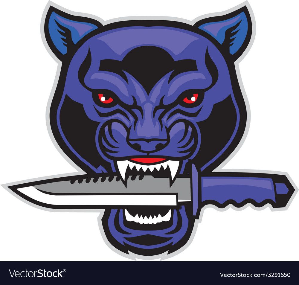 Panther head bite a military blade vector | Price: 3 Credit (USD $3)