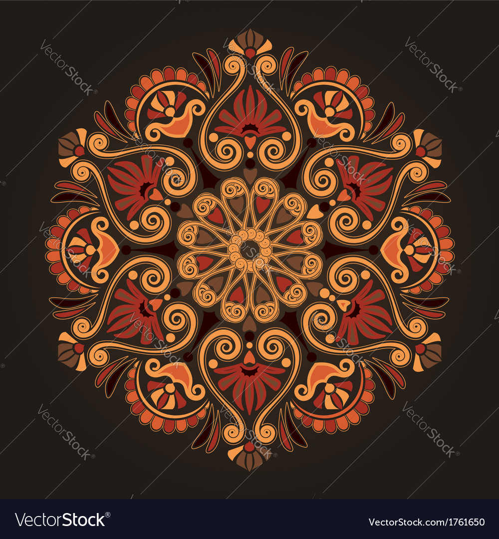 Radial geometric floral pattern vector | Price: 1 Credit (USD $1)