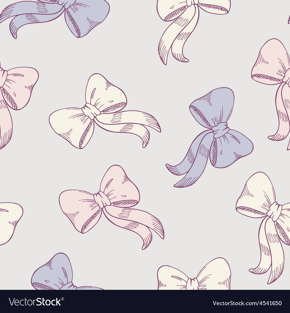 Seamless pattern with sketched bows in pastel vector | Price: 1 Credit (USD $1)