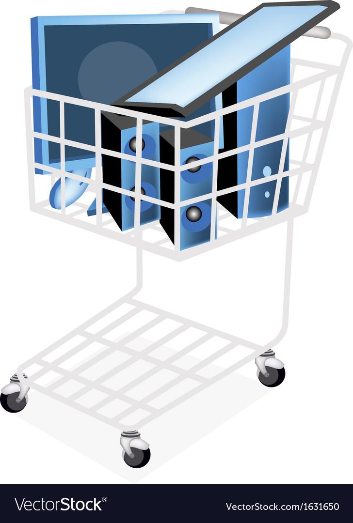 Set of desktop computer in shopping cart vector | Price: 1 Credit (USD $1)