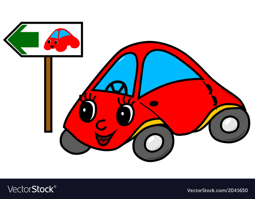 Toy car on green way vector | Price: 1 Credit (USD $1)