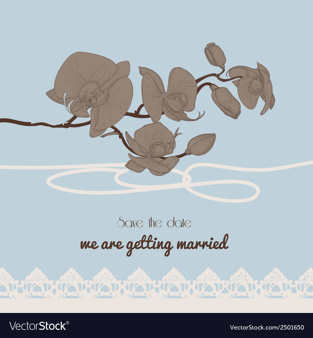 Vintage style wedding invitation orchid twig and vector | Price: 1 Credit (USD $1)