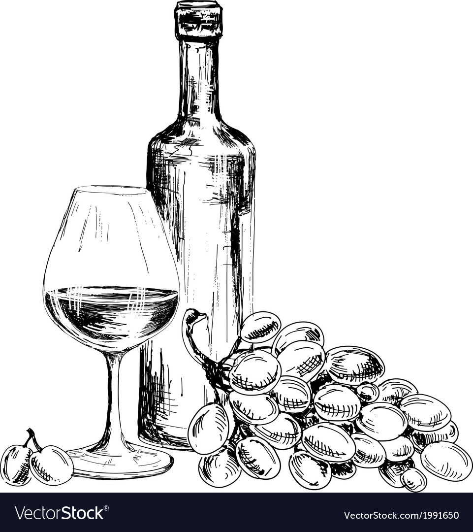 Wine and bunch of grapes vector | Price: 1 Credit (USD $1)