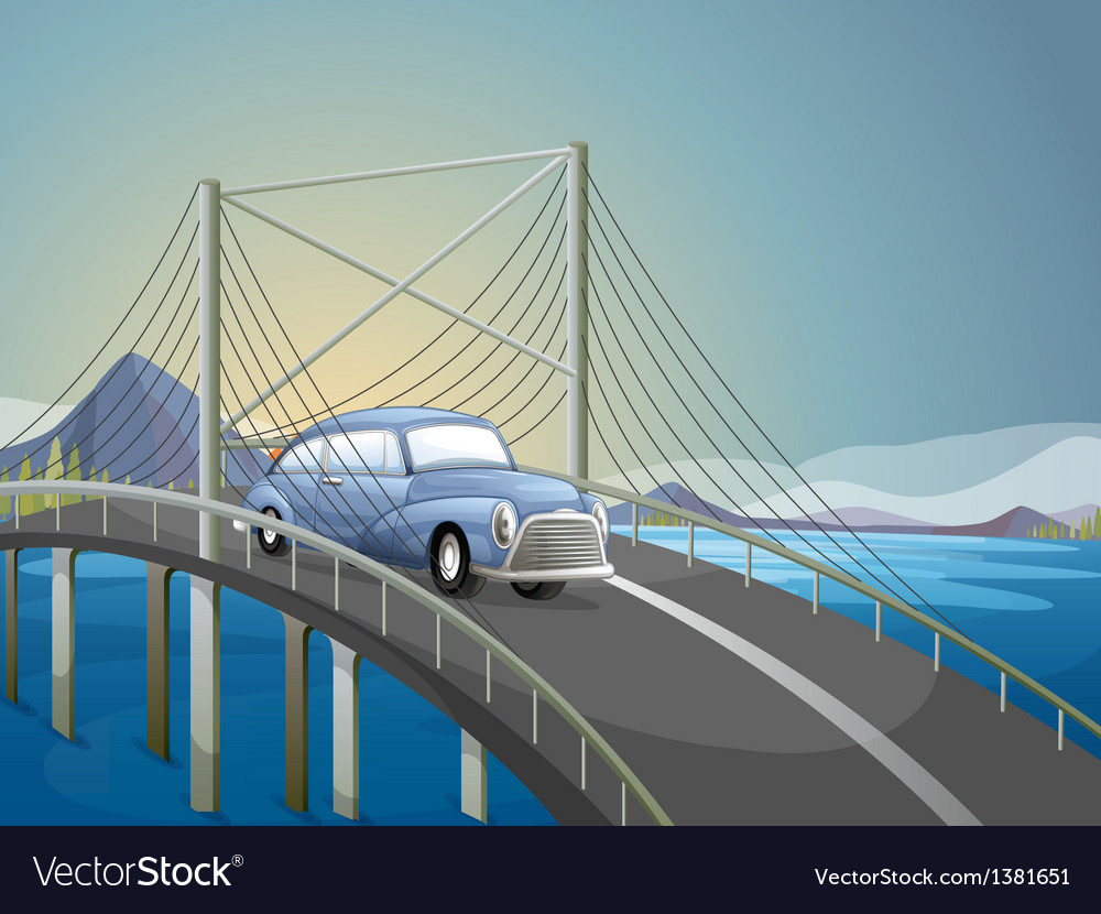 A car on the road vector | Price: 1 Credit (USD $1)