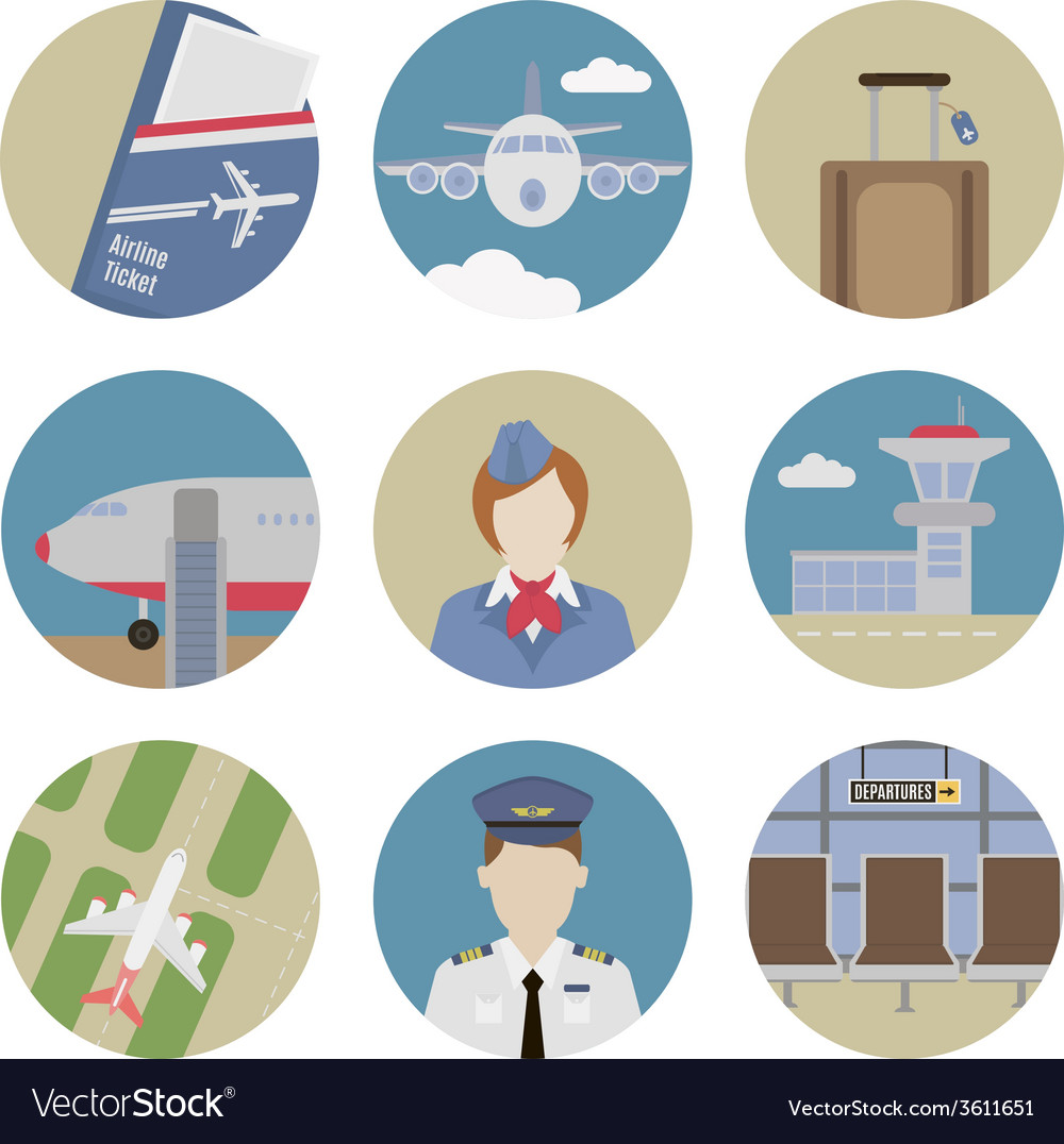 Airport flat icons vector | Price: 1 Credit (USD $1)