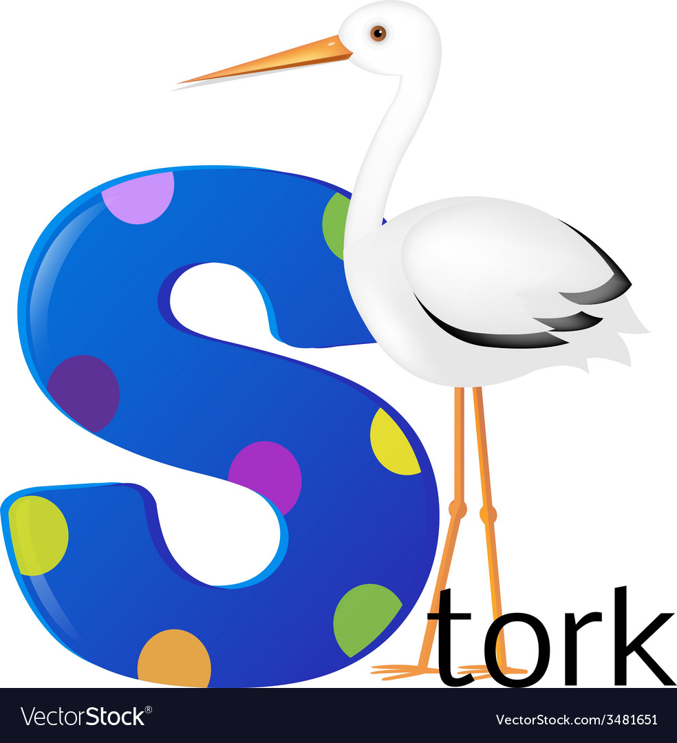 Alphabet with stork vector | Price: 1 Credit (USD $1)