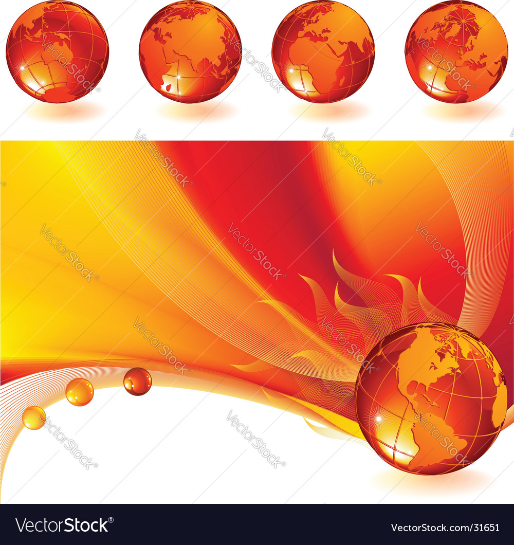 Burning globe vector | Price: 3 Credit (USD $3)