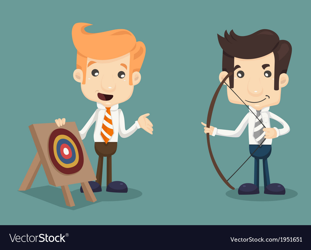 Businessman aiming at target with bow and arrow vector | Price: 1 Credit (USD $1)