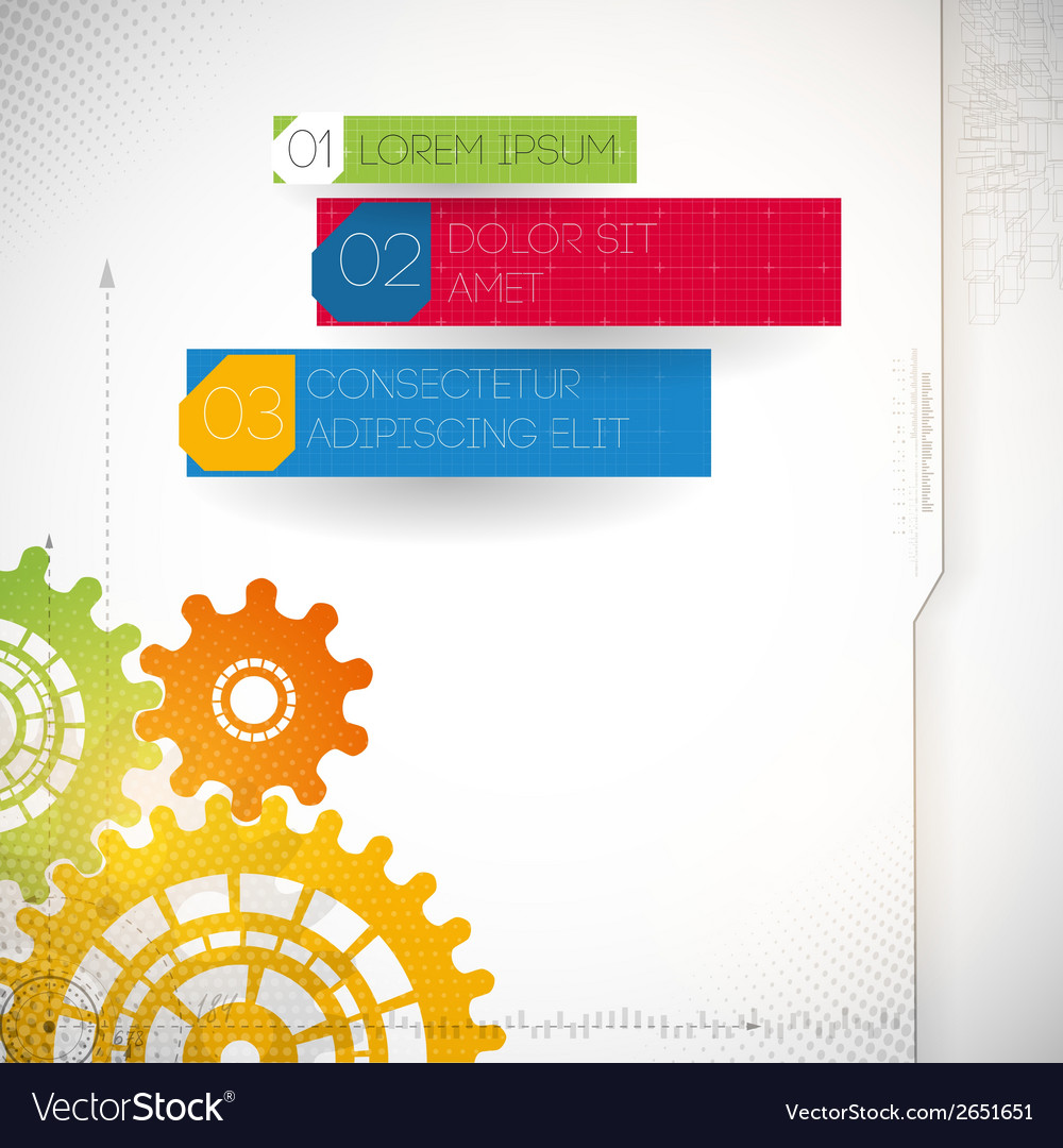 Colorful gears on gray background vector | Price: 1 Credit (USD $1)