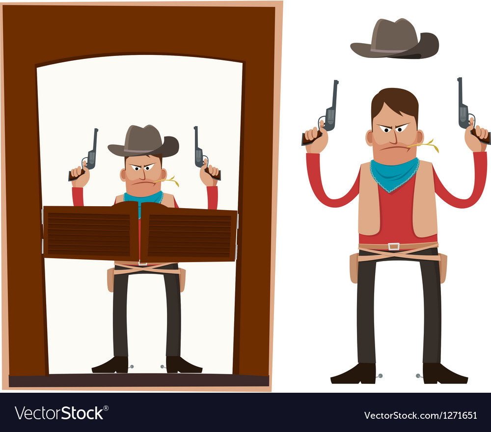 Cowboy in action vector | Price: 1 Credit (USD $1)