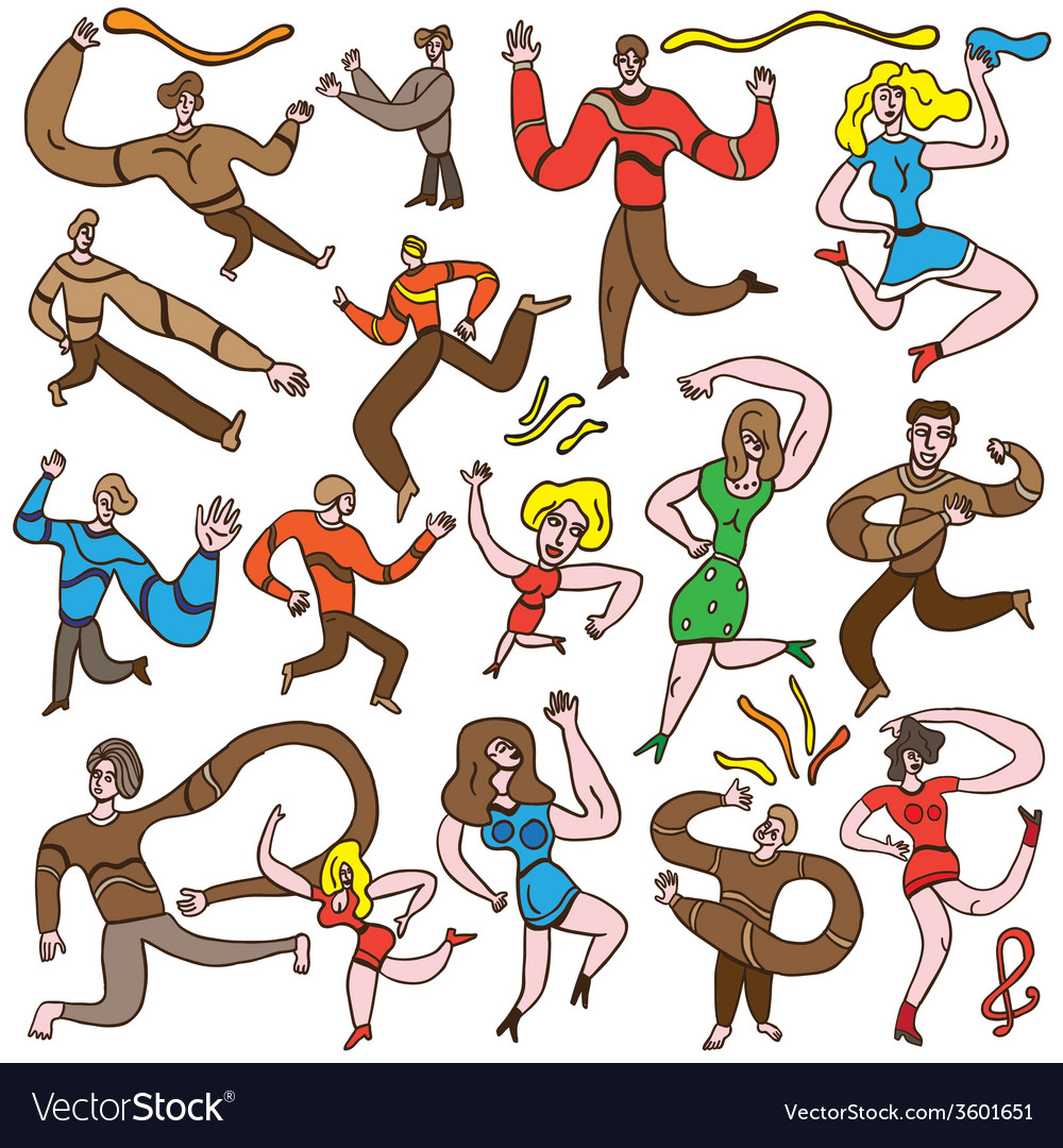Dancing people - cartoons set vector | Price: 1 Credit (USD $1)