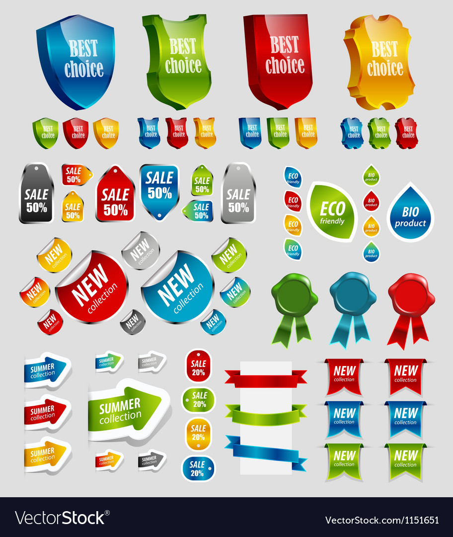 Design elements tags stickers ribbons vector | Price: 1 Credit (USD $1)