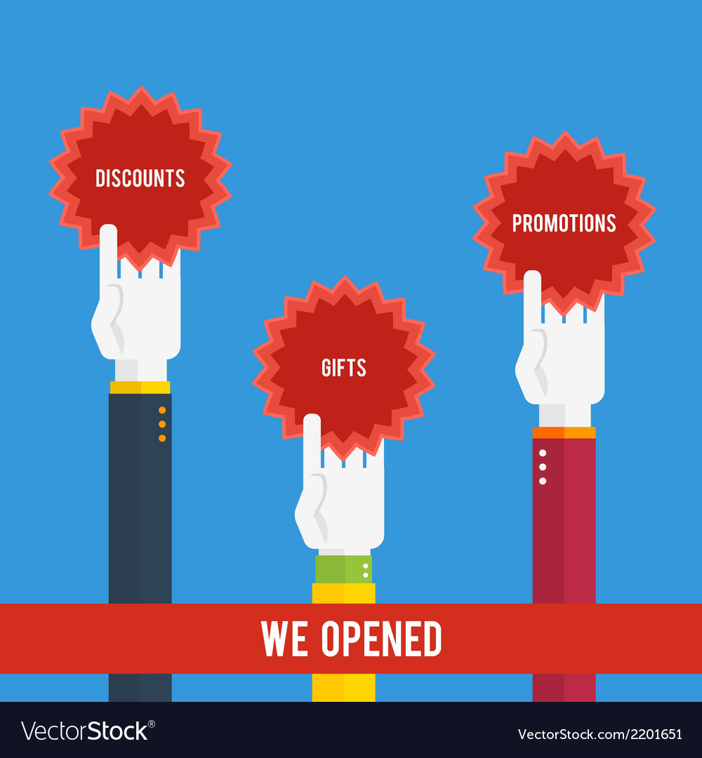 Grand opening - hands holding stickers vector | Price: 1 Credit (USD $1)