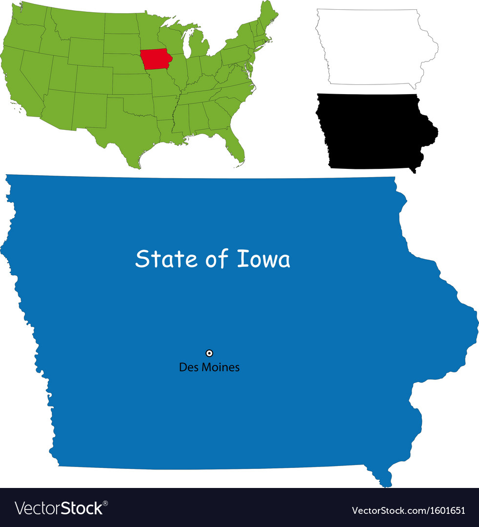 Iowa map vector | Price: 1 Credit (USD $1)