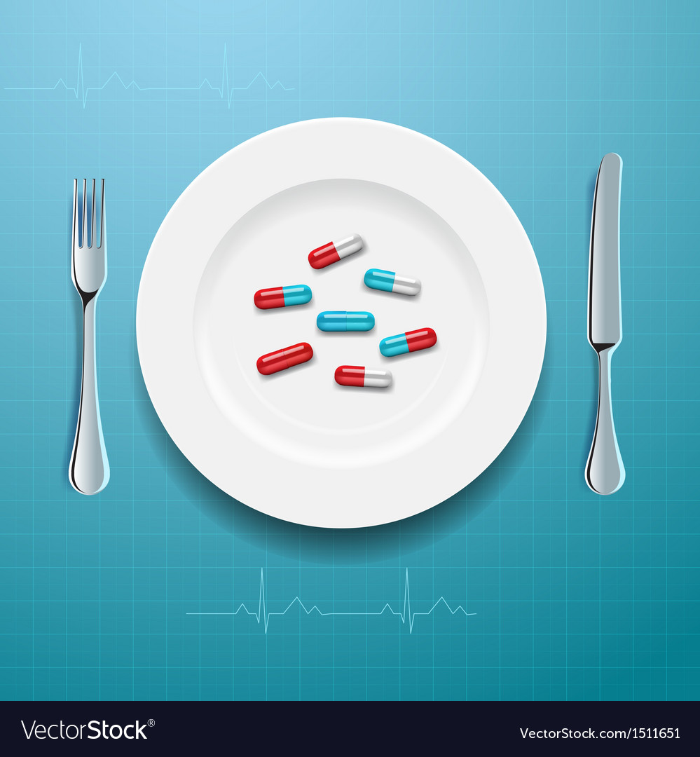 Pills on the plate vector   Price: 1 Credit (USD $1)
