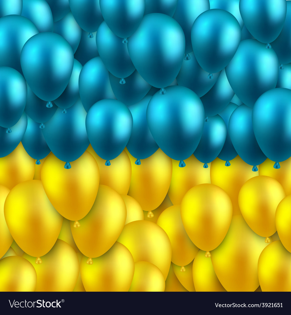 Ukrainian colorful flag with balloons vector | Price: 1 Credit (USD $1)