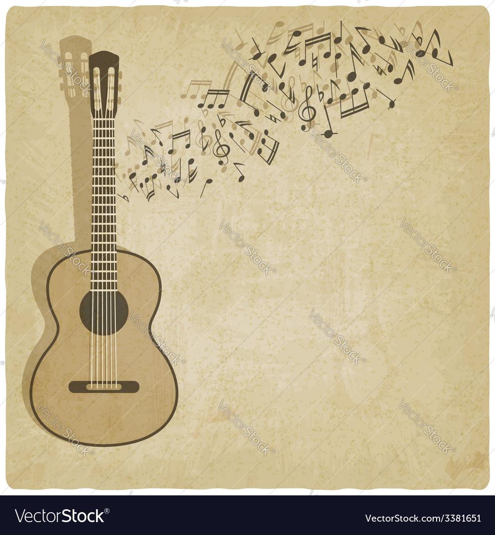 Vintage music guitar background vector | Price: 1 Credit (USD $1)