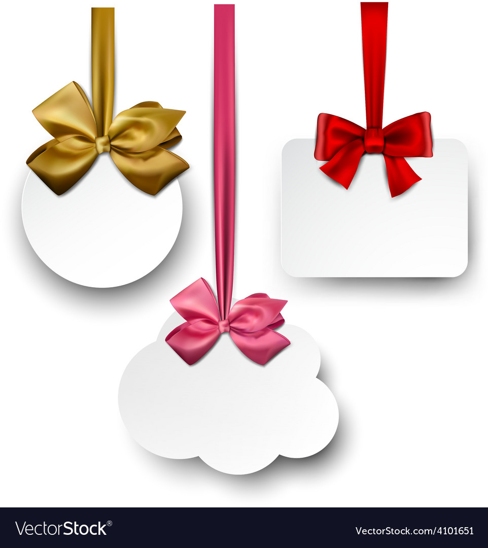 White paper gift cards with satin bows vector | Price: 1 Credit (USD $1)