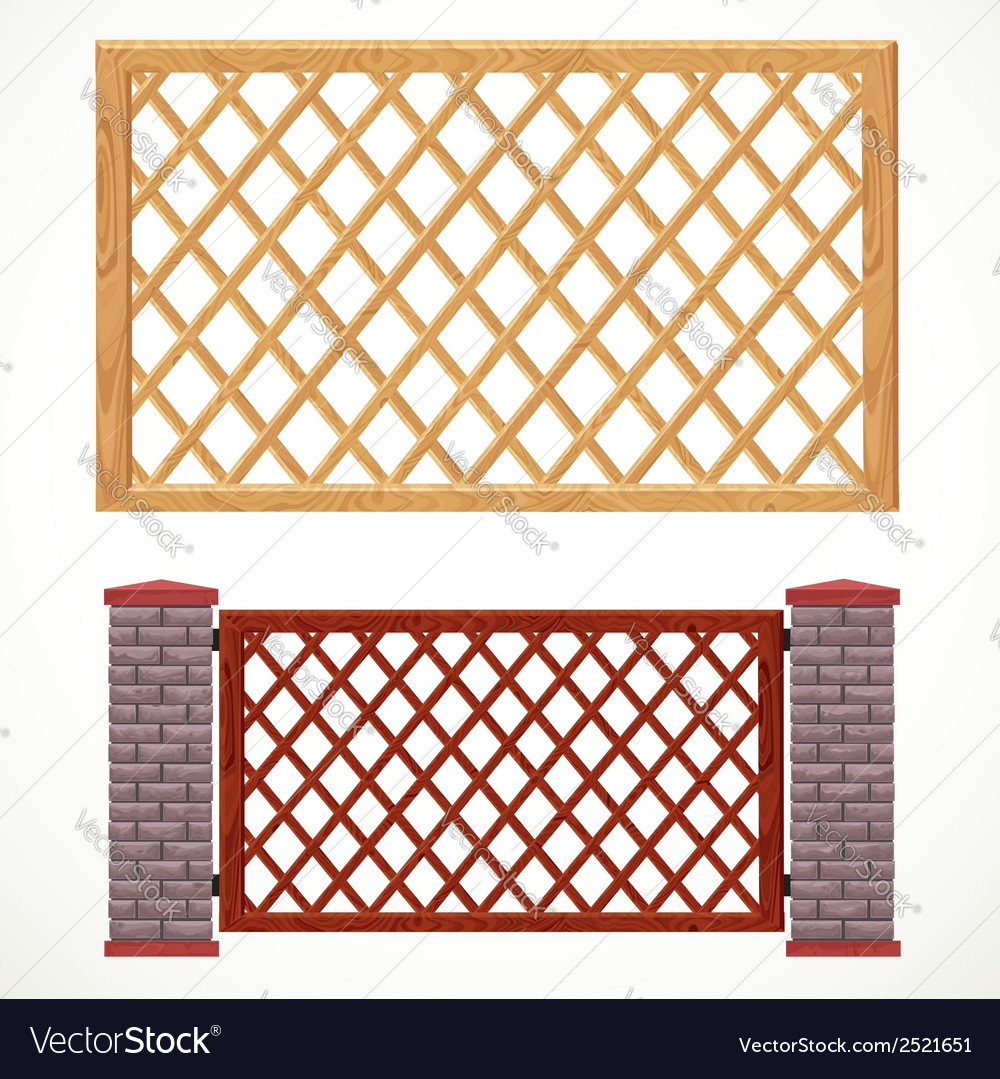 Wooden fence from crossed planking and with post vector | Price: 1 Credit (USD $1)