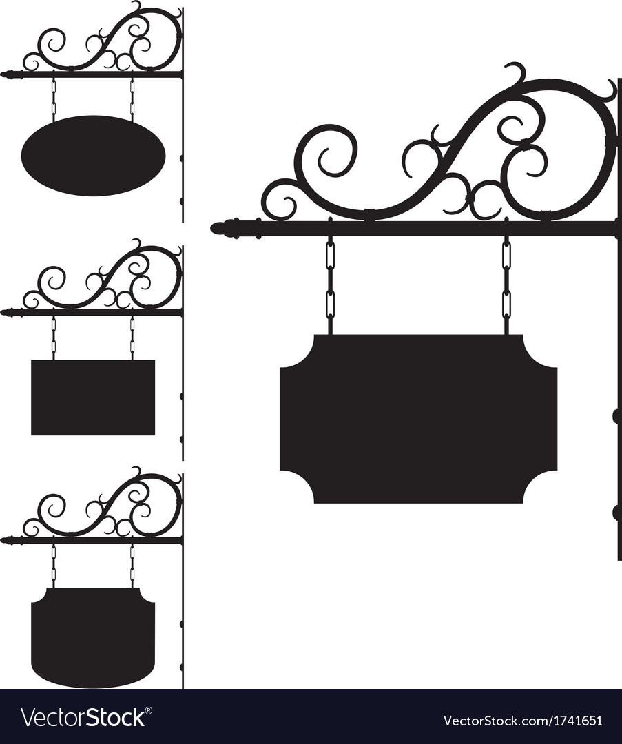 Wrought iron signs for old-fashioned design vector | Price: 1 Credit (USD $1)