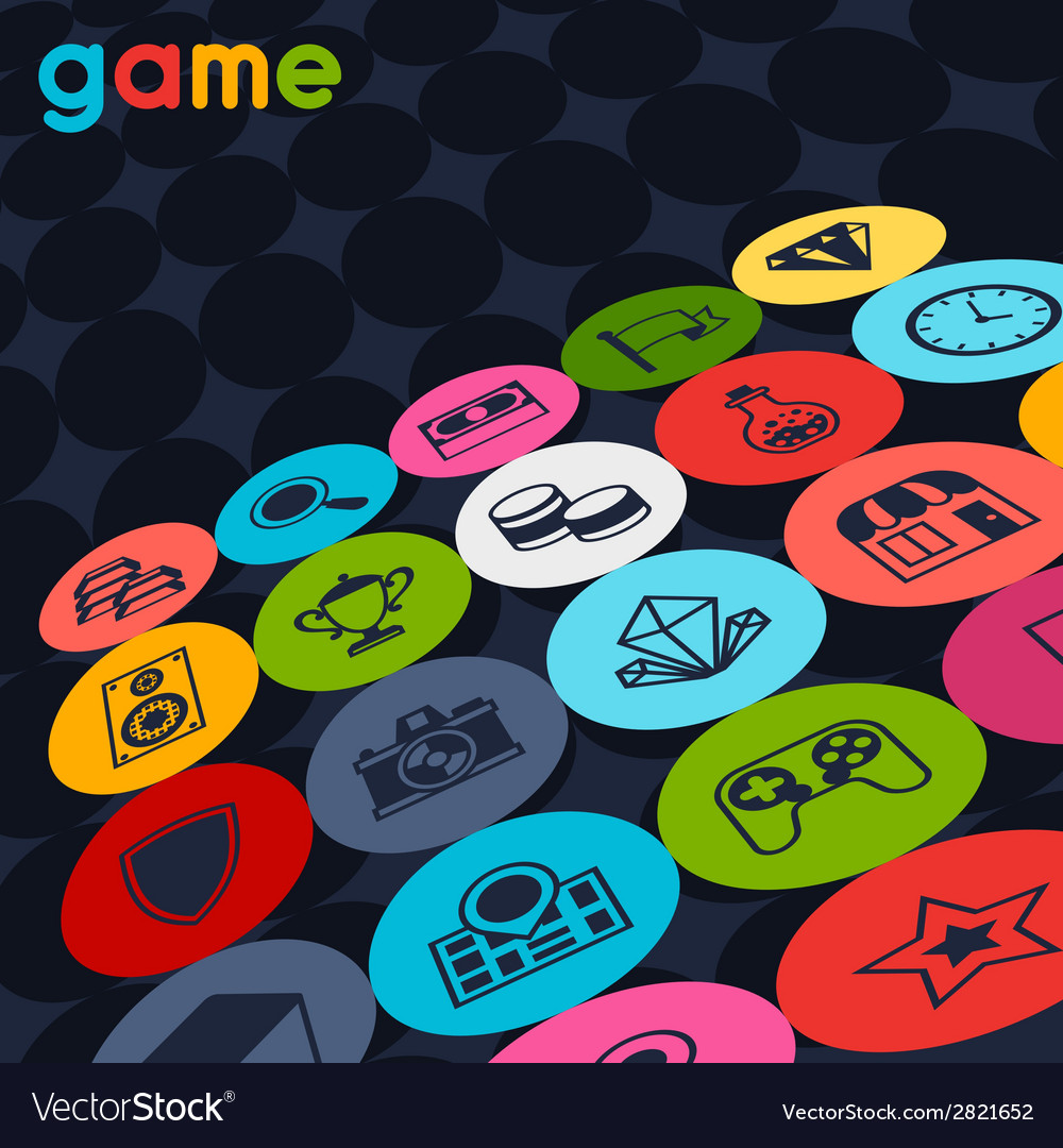 Background with game icons in flat design style vector   Price: 1 Credit (USD $1)