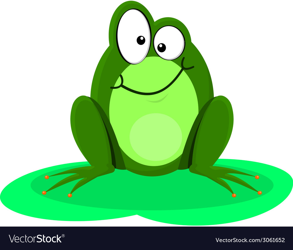 Funny of a happy green frog vector | Price: 1 Credit (USD $1)