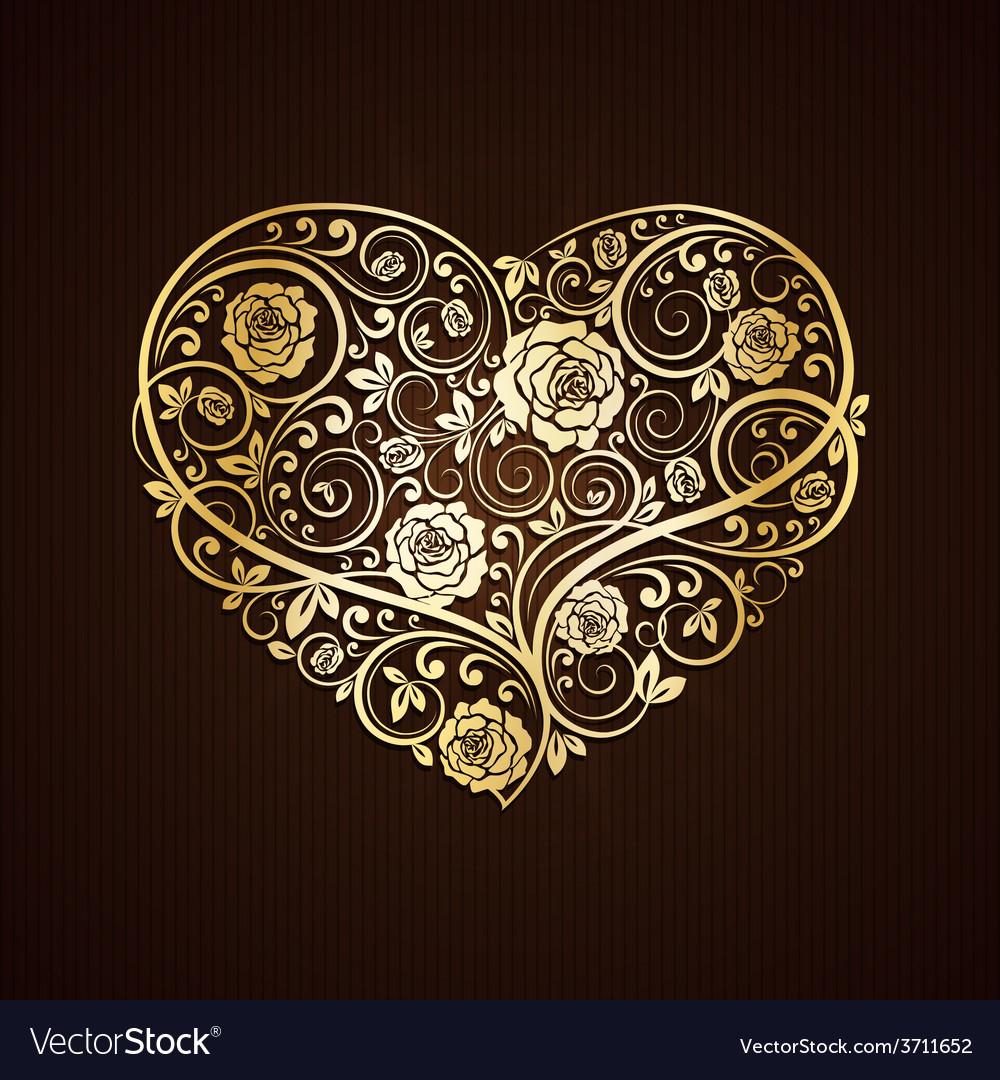 Golden heart vector | Price: 1 Credit (USD $1)