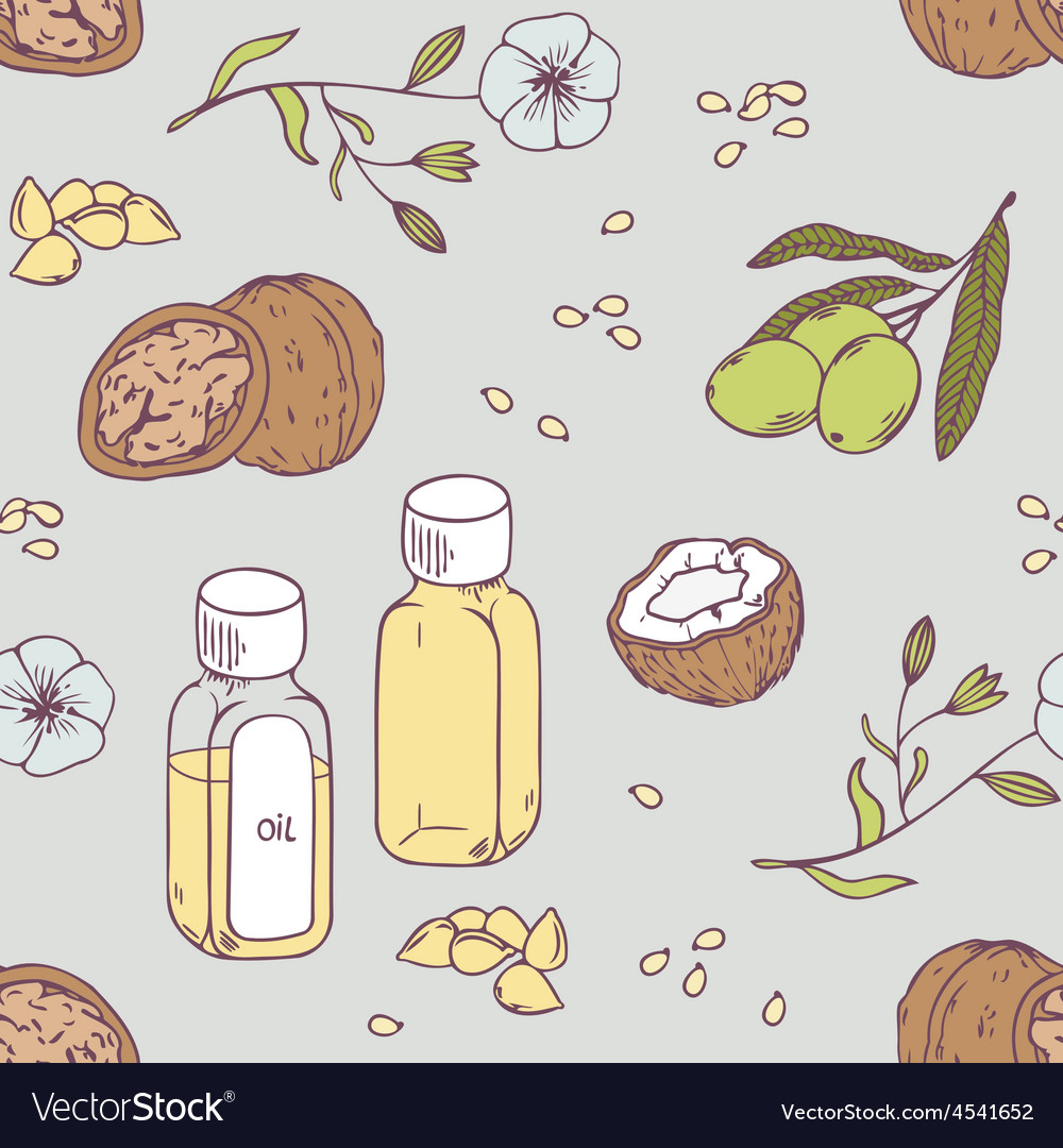 Healing oils seamless pattern healthy background vector | Price: 1 Credit (USD $1)