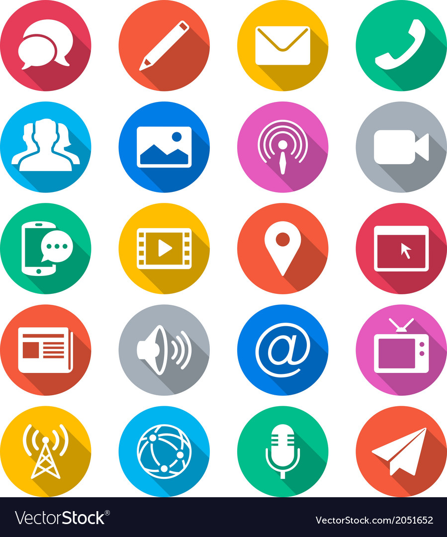Media and communication flat color icons vector | Price: 1 Credit (USD $1)