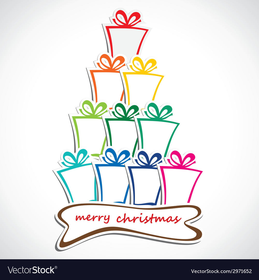 Merry christmas gift stack vector | Price: 1 Credit (USD $1)