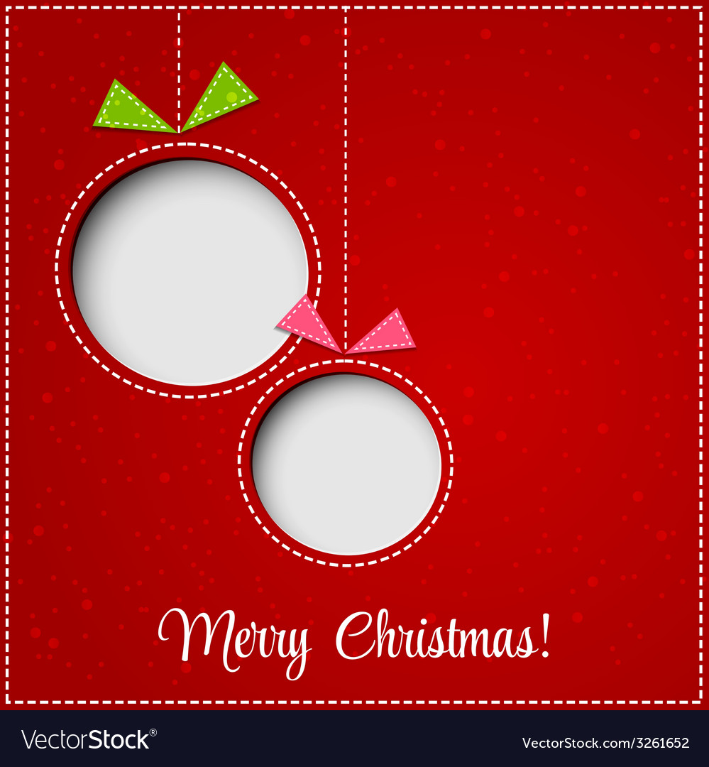 Merry christmas greeting card with bauble paper vector   Price: 1 Credit (USD $1)