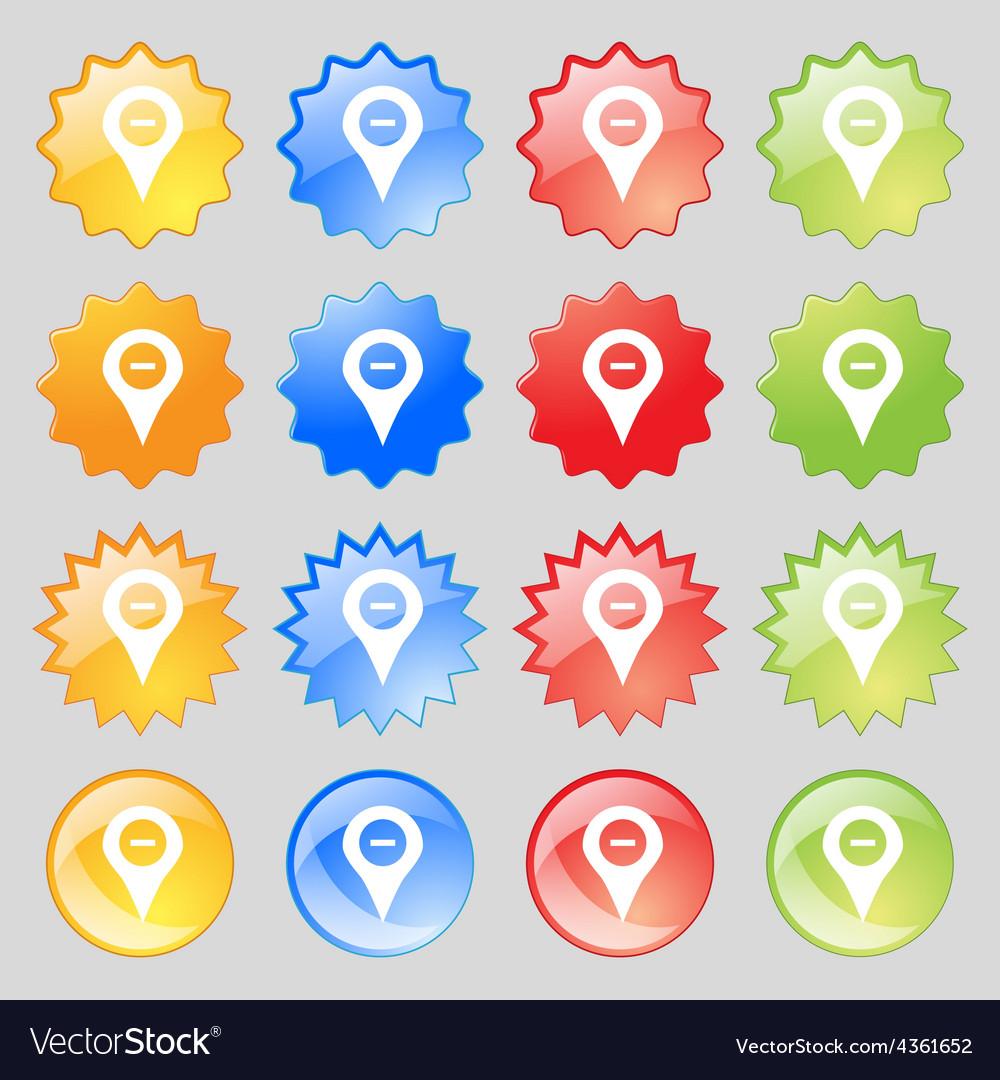 Minus map pointer gps location icon sign big set vector | Price: 1 Credit (USD $1)