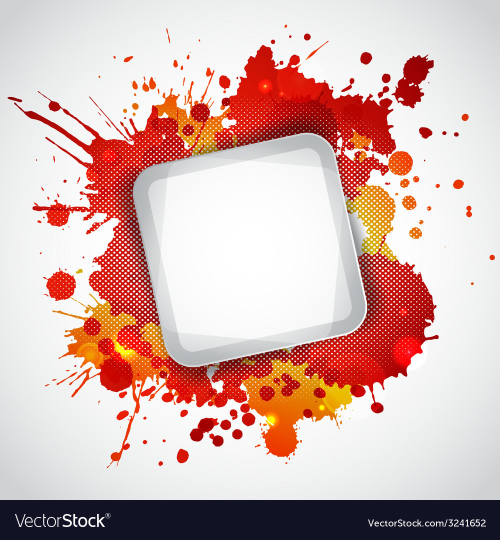 Modern white frame with red blots vector | Price: 1 Credit (USD $1)