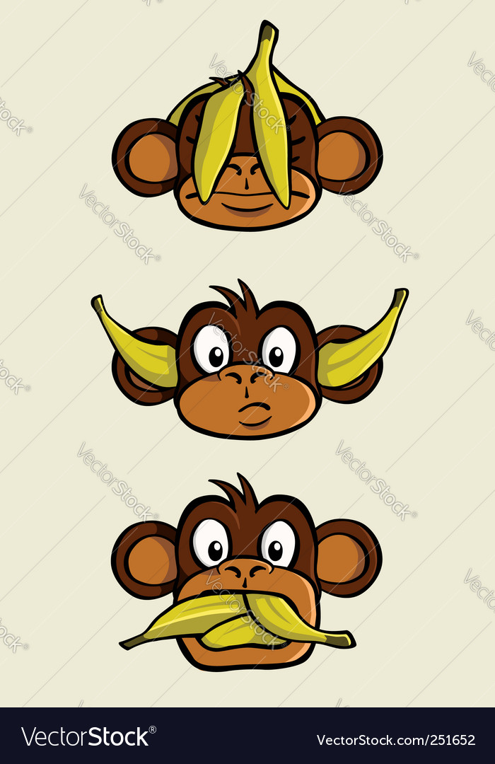 Three wise monkeys vector | Price: 3 Credit (USD $3)