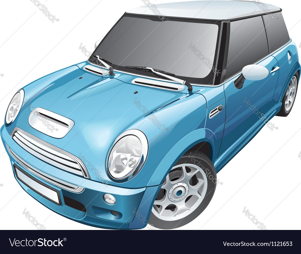 Blue small car vector | Price: 3 Credit (USD $3)