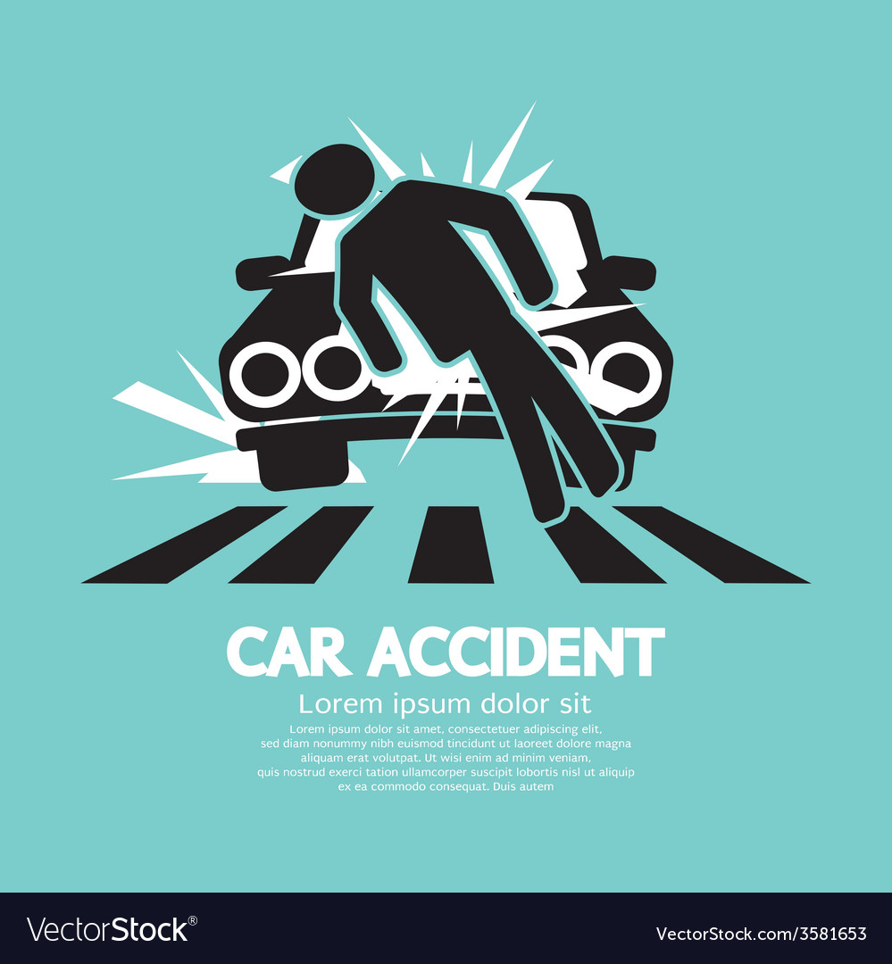 Car accident knocked down a man vector | Price: 1 Credit (USD $1)