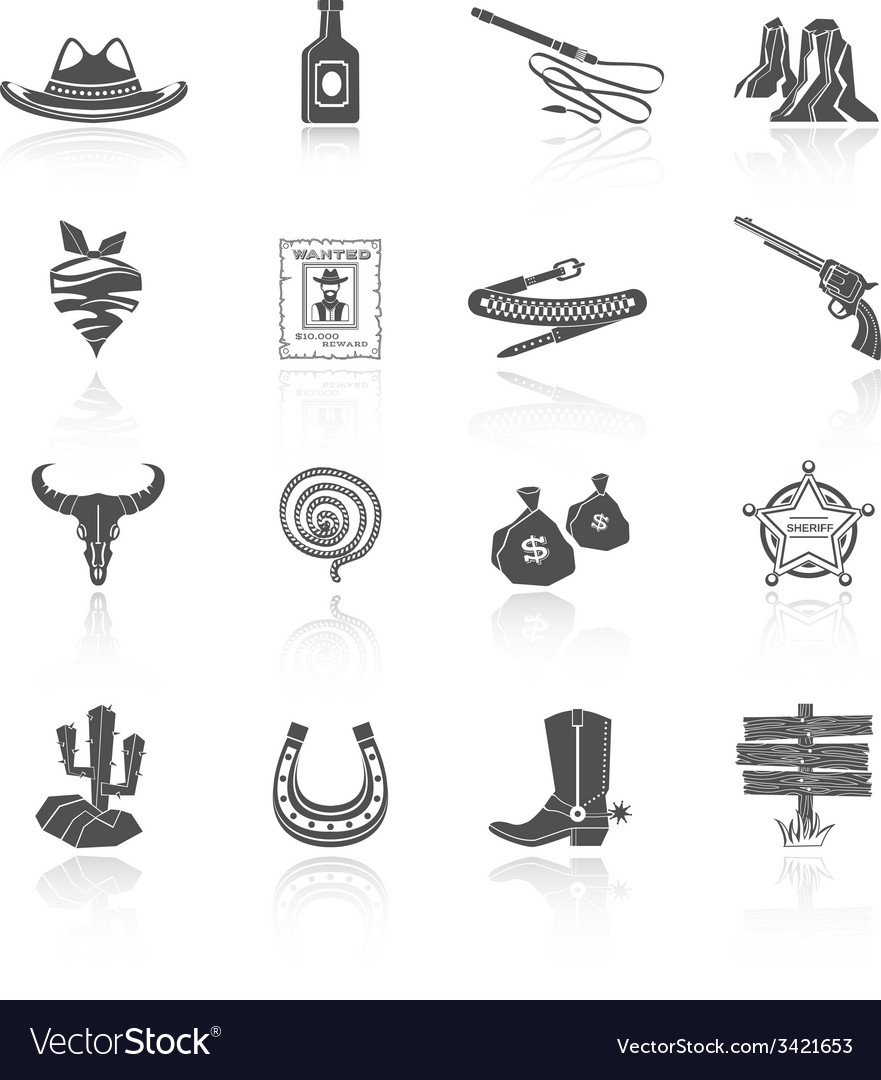 Cowboy icons black vector | Price: 1 Credit (USD $1)