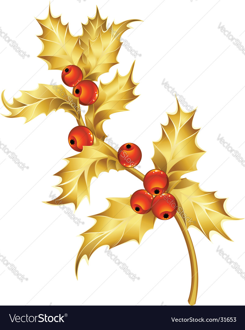 Gold holly vector | Price: 1 Credit (USD $1)