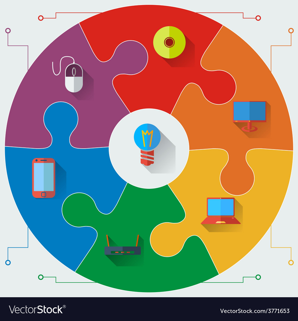 Infographics report templates in a circular puzzle vector | Price: 1 Credit (USD $1)