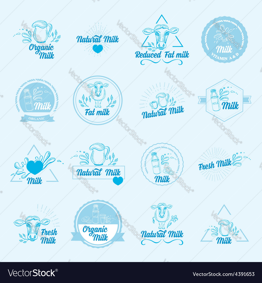 Natural milk with splashes icons design healthy vector | Price: 1 Credit (USD $1)