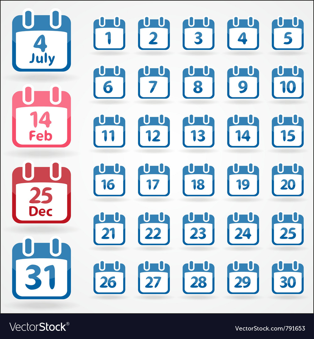Set of calendar icons for every day vector | Price: 1 Credit (USD $1)