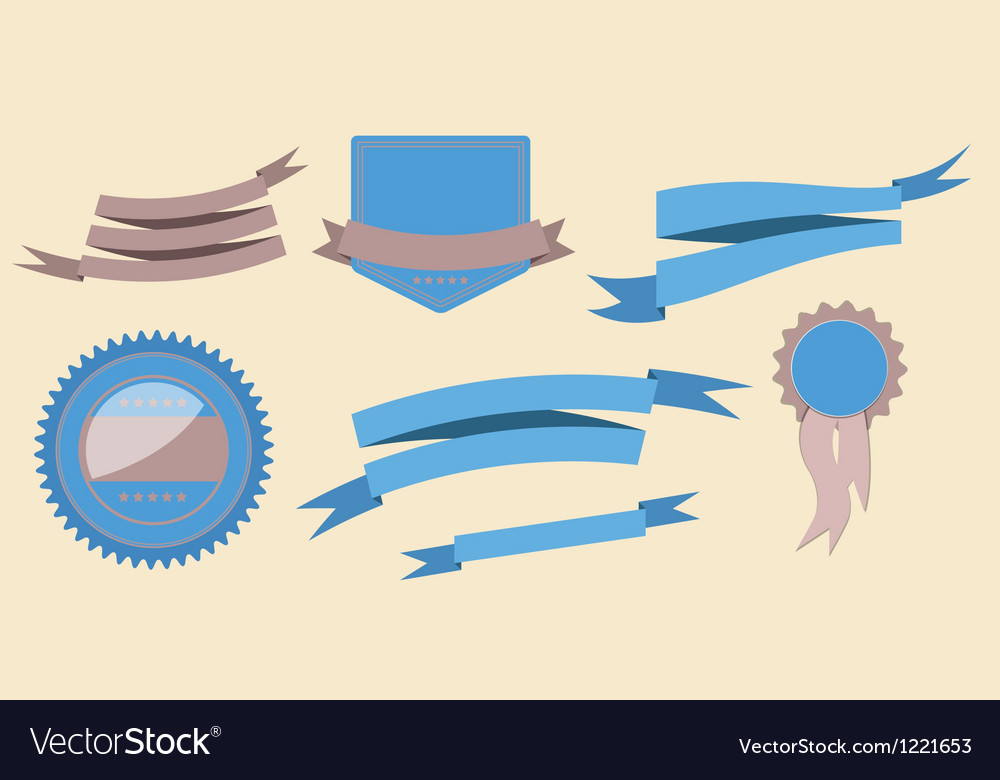 Set retro ribbons and label vector | Price: 1 Credit (USD $1)