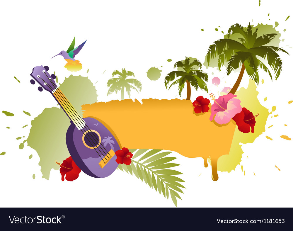 Tropical banner with palm trees ukulele and flower vector | Price: 1 Credit (USD $1)