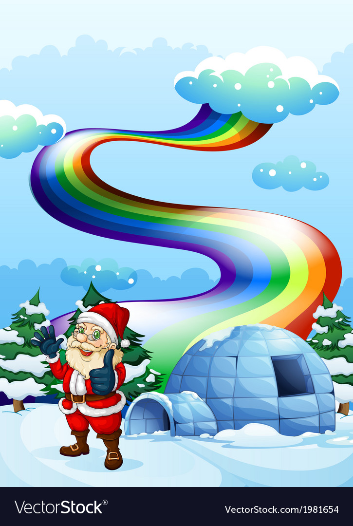 A smiling santa near the igloo with a rainbow in vector   Price: 1 Credit (USD $1)