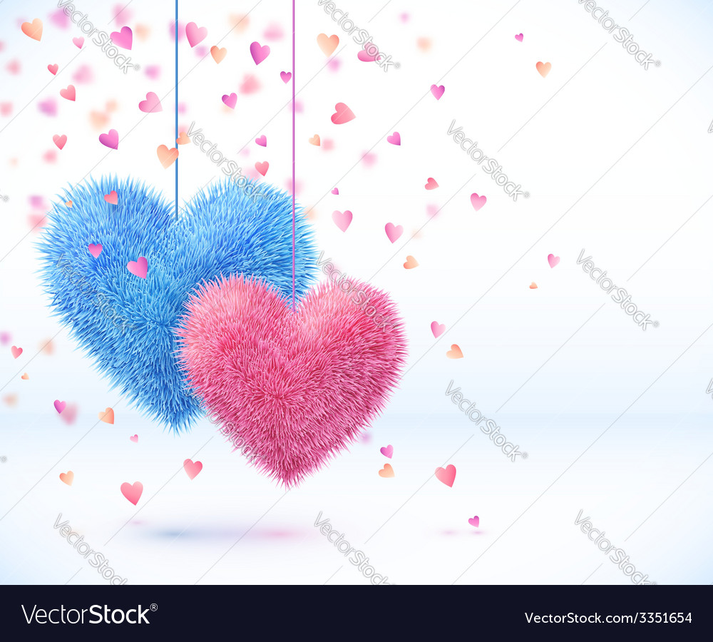 Blue and pink pair of hearts valentines day vector | Price: 1 Credit (USD $1)
